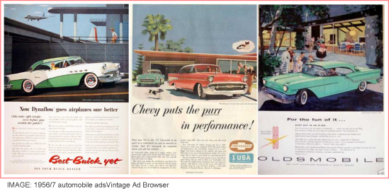 Mid century modernism in auto ads